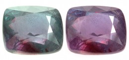 Description: The same faceted piece of alexandrite changing color from green to pink