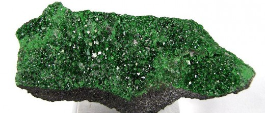 Description: A drusy of uvarovite, a consistently green garnet species, on the rock